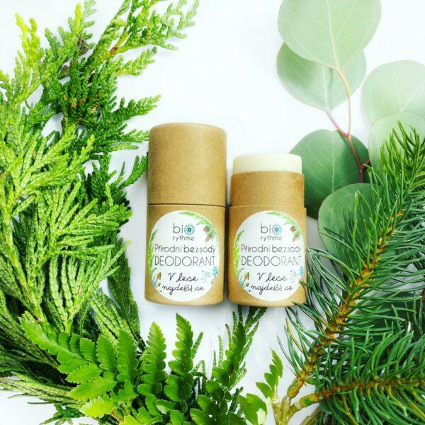 Papírový obal: BEZSODÝ deodorant V lese najde(š) se 30g 3